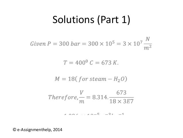 chemical engineering assignment help solutions part 1 © e assignmenthelp 2014
