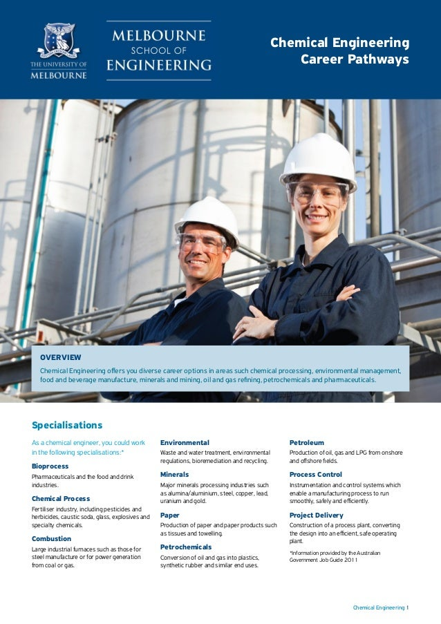 Chemical Engineering 1 As a chemical engineer, you could work in the following specialisations:* Bioprocess Pharmaceutical...