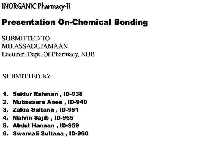 INORGANIC Pharmacy-II Presentation On-Chemical Bonding SUBMITTED TO MD.ASSADUJAMAAN Lecturer, Dept. Of Pharmacy, NUB SUBMI...