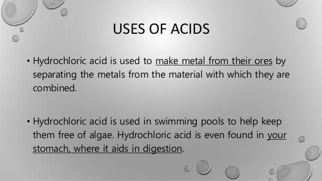 Chemical compounds for Hydrochloric acid used in swimming pools