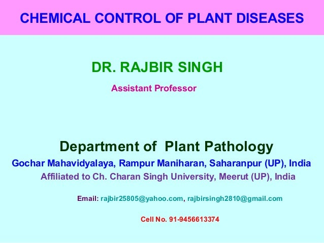 Chemical control of plant disease
