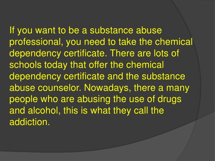 Chemical Dependency Certificate Online
