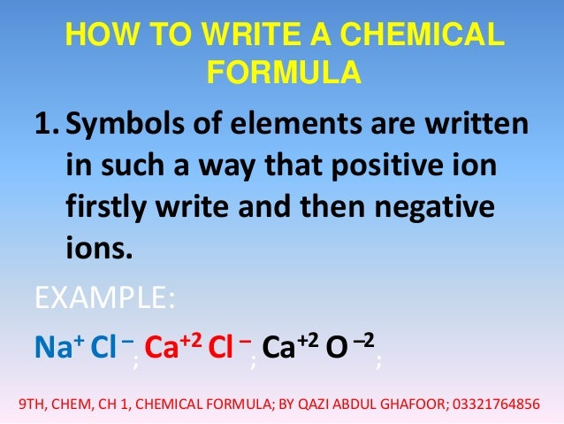 how to write a chemical formula