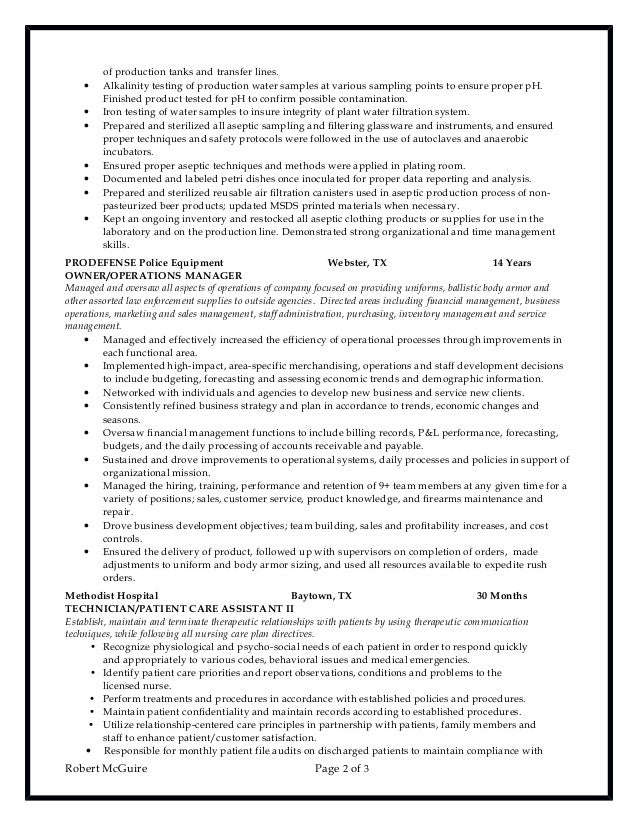 Chemical lab technician resume 6 10-2016