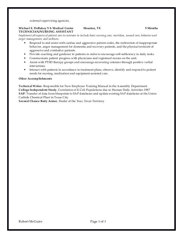 3 external - Chemical Technician Resume