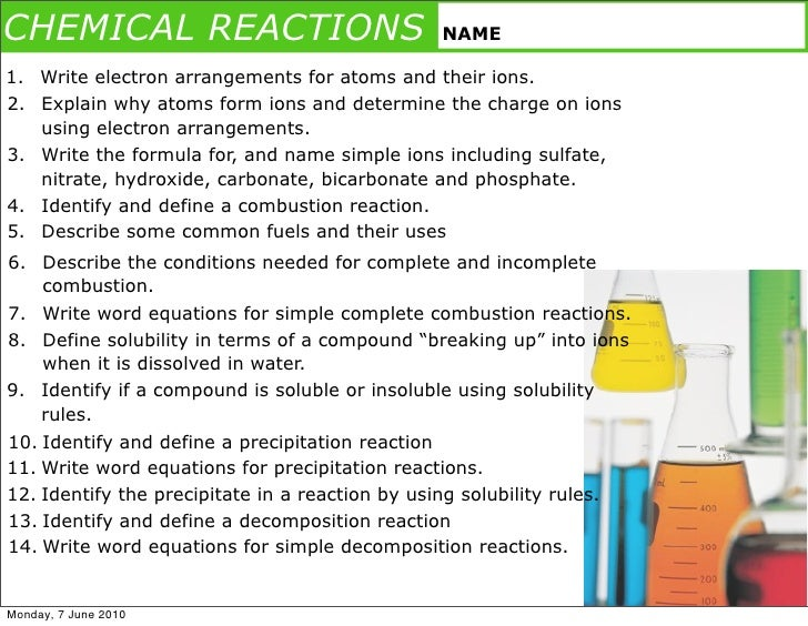 CHEMICAL REACTIONS                              NAME  1. Write electron arrangements for atoms and their ions. 2. Explain ...