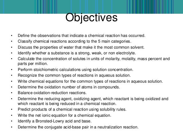 observations in chemical reactions Csus department of chemistry experiment 3 chem1a experiment 3: reactions in aqueous solutions solubility rules: you should be familiar with these rules and be able to use them efficiently.