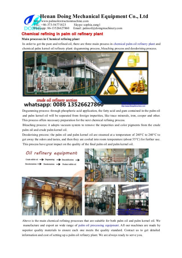 Chemical refining in palm oil refinery plant