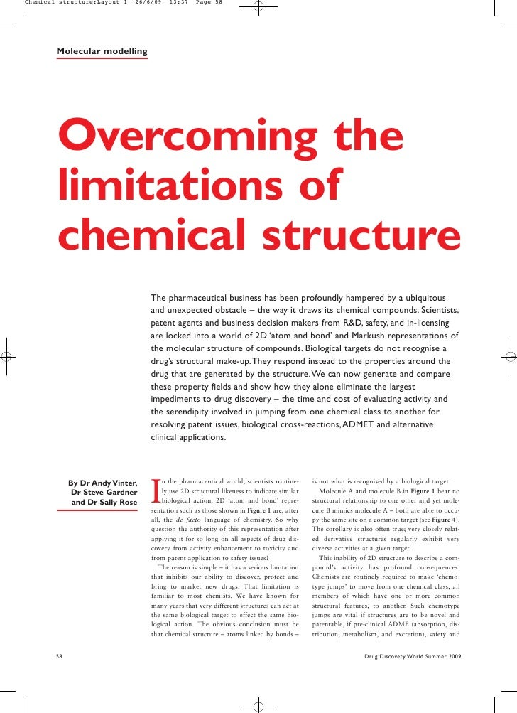Chemical structure:Layout 1   26/6/09   13:37     Page 58             Molecular modelling             Overcoming the      ...