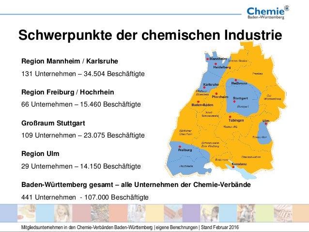 Schwerpunkte der chemischen Industrie Region Mannheim / Karlsruhe 131 Unternehmen – 34.504 Beschäftigte Region Freiburg / ...