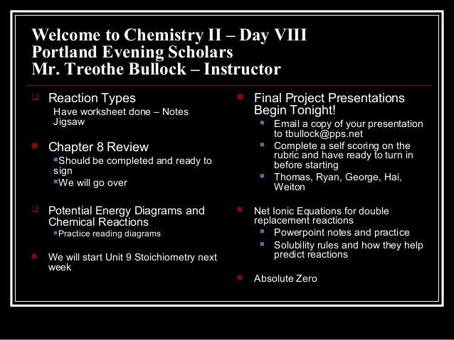 Welcome to Chemistry II – Day VIIIPortland Evening ScholarsMr. Treothe Bullock – Instructor Reaction TypesHave worksheet ...