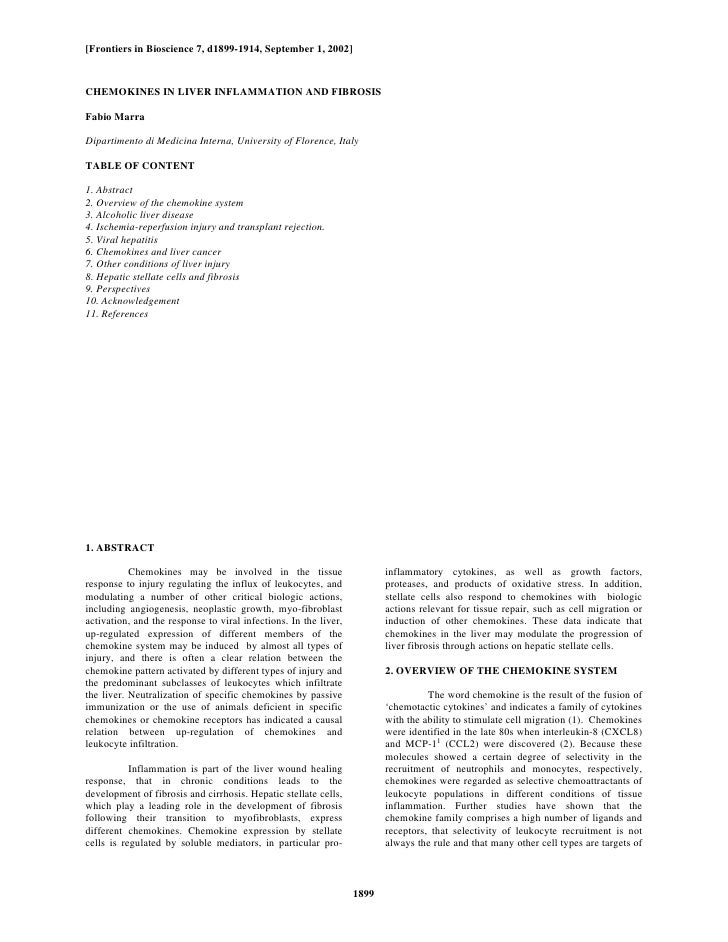 [Frontiers in Bioscience 7, d1899-1914, September 1, 2002]CHEMOKINES IN LIVER INFLAMMATION AND FIBROSISFabio MarraDipartim...