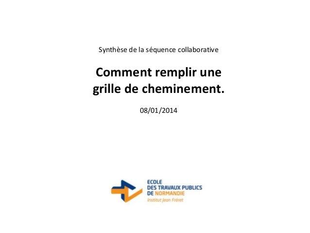Synthèse de la séquence collaborative  Comment remplir une grille de cheminement. 08/01/2014