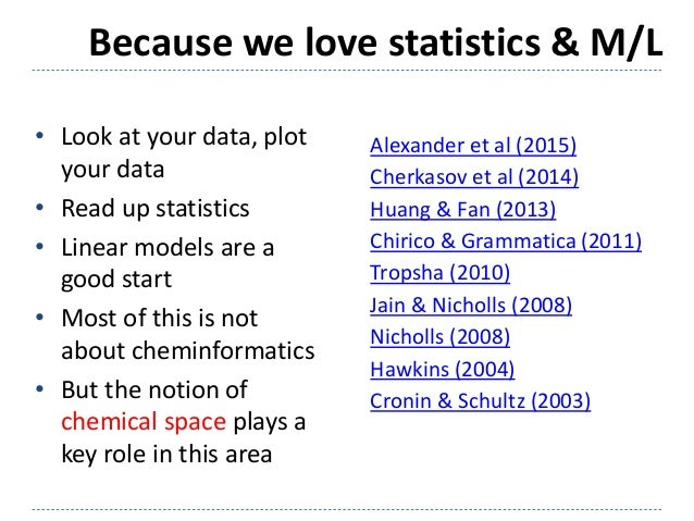 Because we love statistics & M/L Alexander et al (2015) Cherkasov et al (2014) Huang & Fan (2013) Chirico & Grammatica (20...