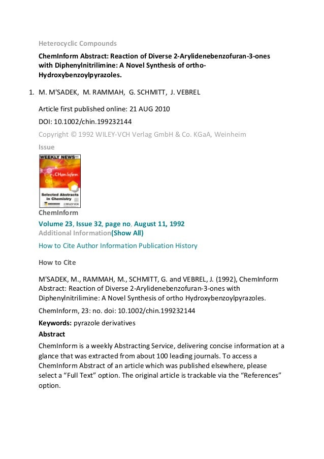 Heterocyclic Compounds ChemInform Abstract: Reaction of Diverse 2-Arylidenebenzofuran-3-ones with Diphenylnitrilimine: A N...