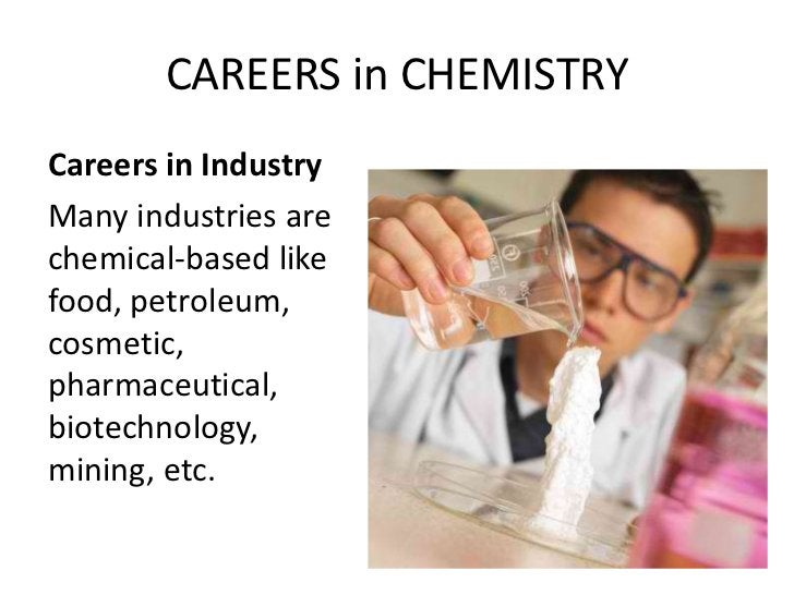 CAREERS in CHEMISTRYCareers in IndustryMany industries arechemical-based likefood, petroleum,cosmetic,pharmaceutical,biote...