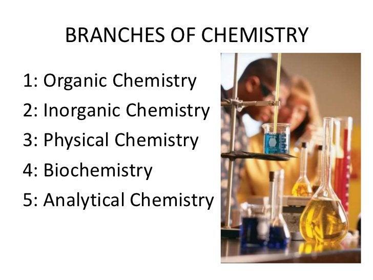 BRANCHES OF CHEMISTRY1: Organic Chemistry2: Inorganic Chemistry3: Physical Chemistry4: Biochemistry5: Analytical Chemistry