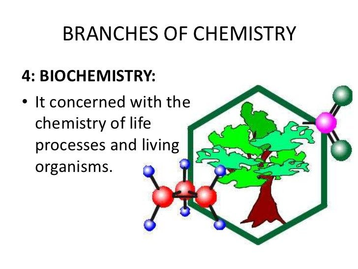 BRANCHES OF CHEMISTRY4: BIOCHEMISTRY:• It concerned with the  chemistry of life  processes and living  organisms.
