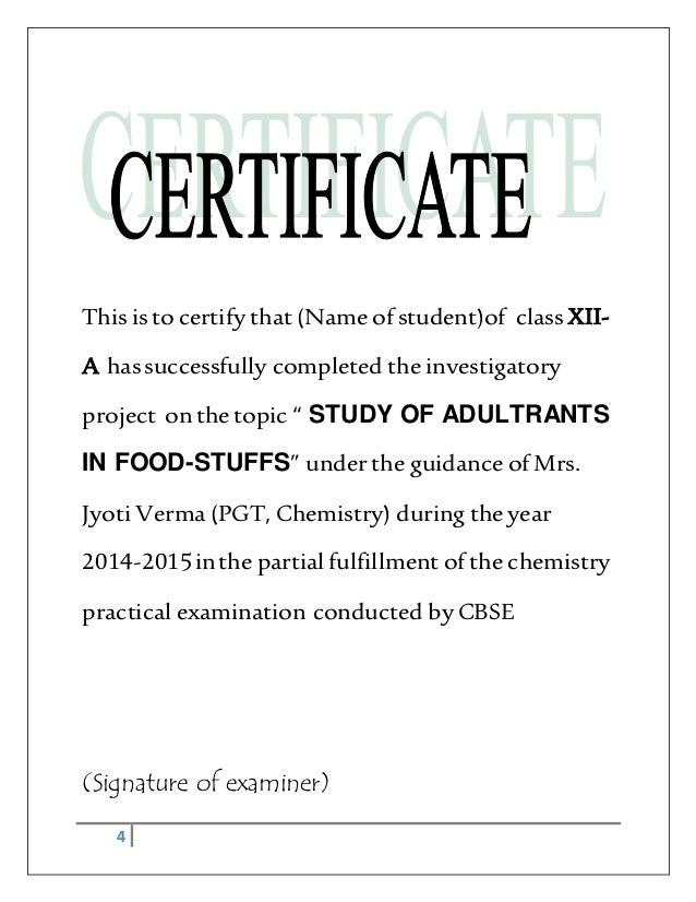 Chemistry Investigatory Project Adultration In Food Stuffs