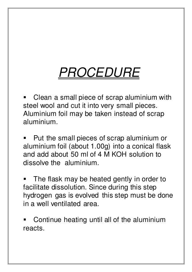 preparation of potash alum from scrap aluminium observations