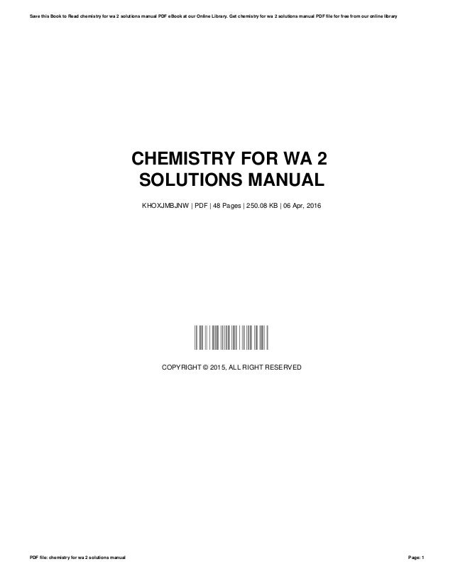 chemistry for wa 2 solutions manual rh slideshare net Chemistry Kit General Chemistry Lab Manual