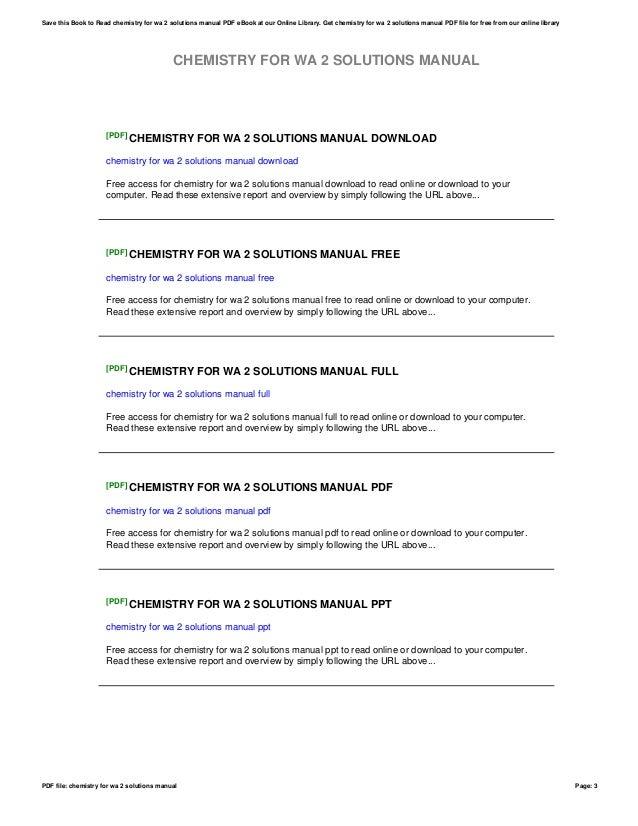 chemistry for wa 2 solutions manual rh slideshare net Chemistry Textbook Chemistry Study Guide