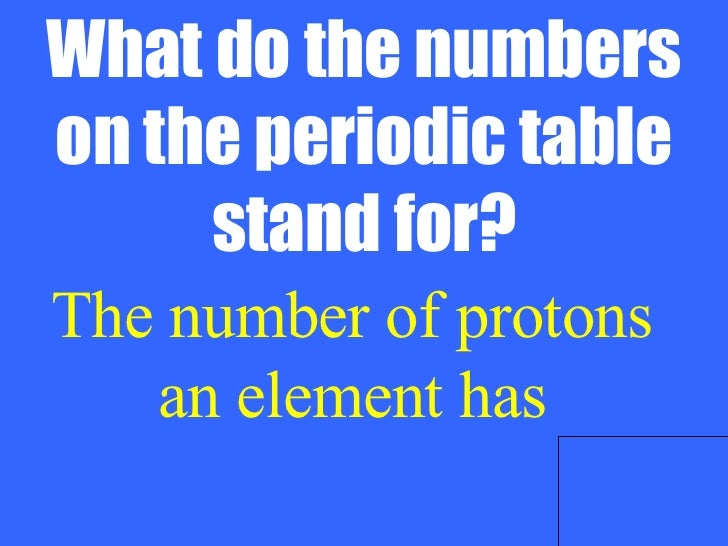 Chemistry jeopardy answer 7 what do the numbers on the periodic table urtaz Image collections