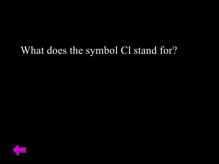 What does the symbol Cl stand for?