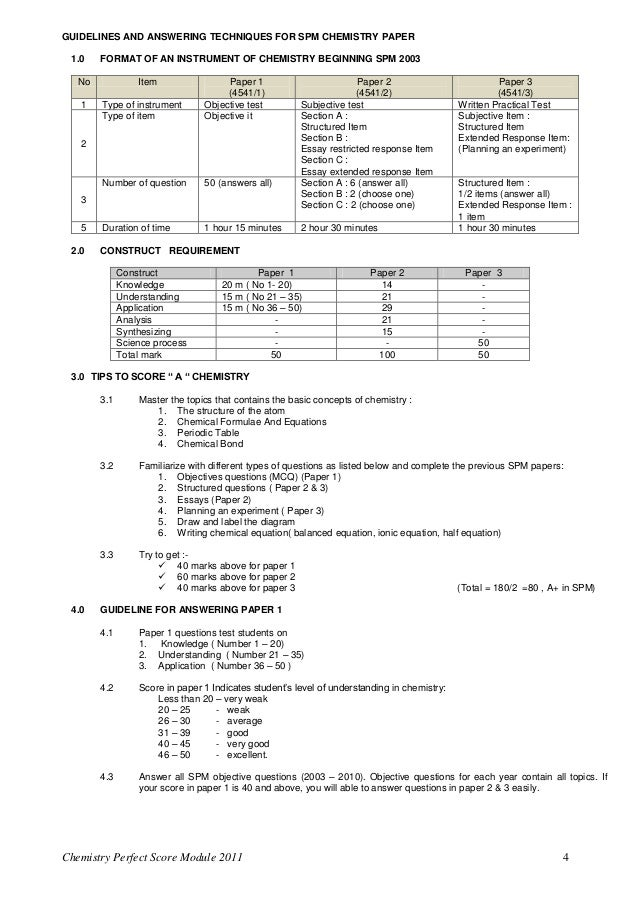 Chemistry Form 4 Essay Question And Answer - Chemistry form