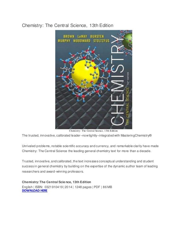 Chemistry The Central Science 13th Edition Pdf