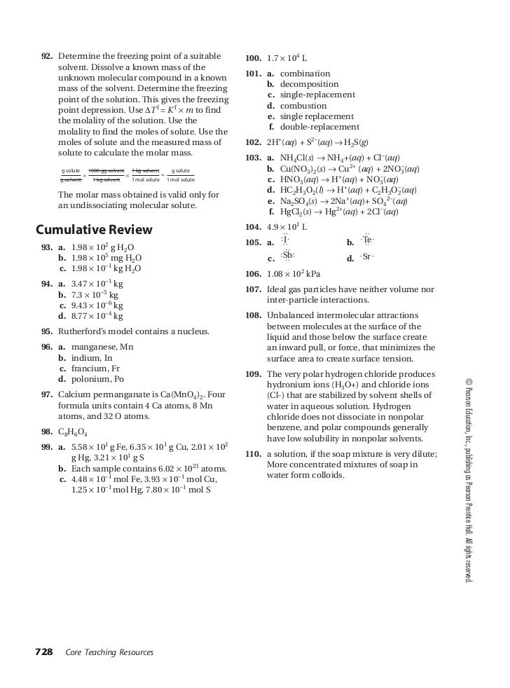 Worksheet Pearson Chemistry Worksheet Answers chemistry chapter 16 assessment small 3