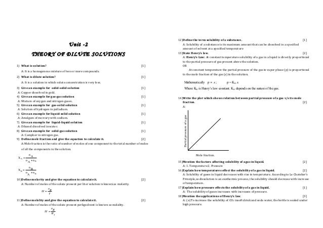 Chemistry chapter wise important questions
