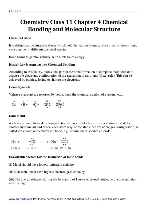 Chemistry class 11 chapter 4 chemical bonding and molecular