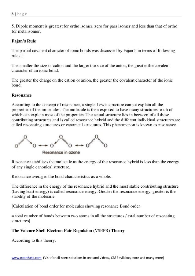 Chemistry Class 11 Chapter 4 Chemical Bonding And Molecular Structure