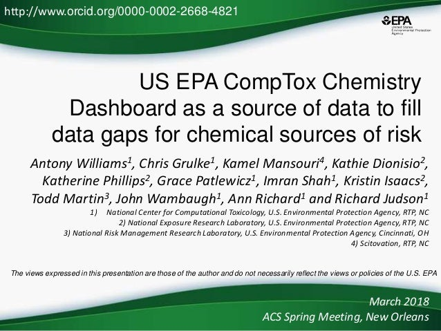 US EPA CompTox Chemistry Dashboard as a source of data to fill data gaps for chemical sources of risk Antony Williams1, Ch...