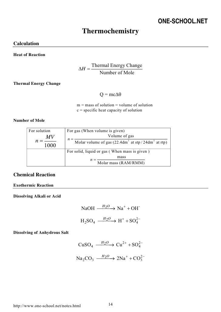 Thermochemistry Equation Sheet Heartpulsar