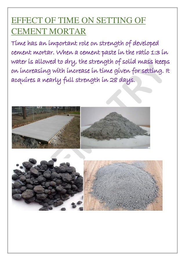 Cement Setting Time : Chemistry investigatory project class