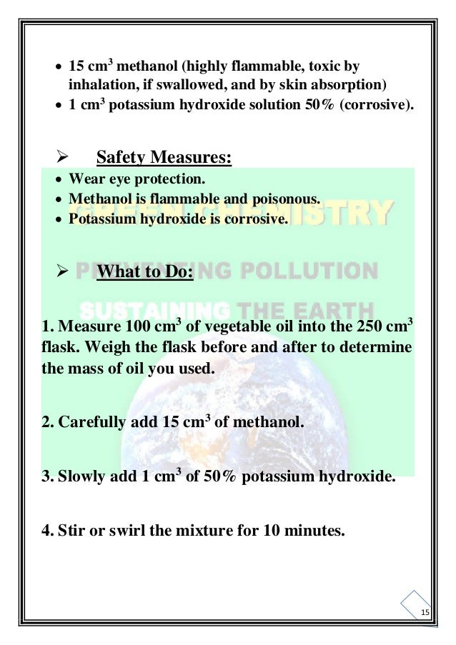 chemistry project on green chemistry biodiesel and bio petrol pdf