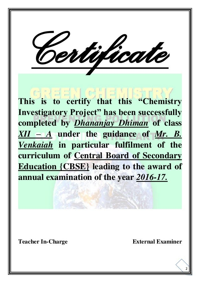 Chemistry Investigatory Projects For Class 12 Cbse Pdf