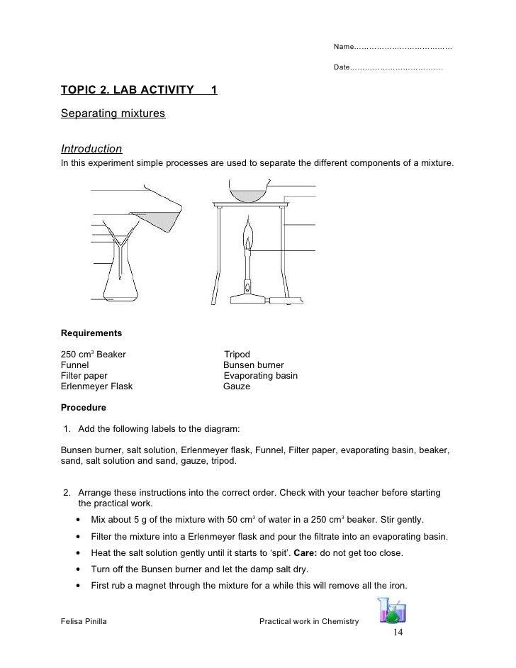 Chemistry Material Alumnat – Separation of Mixtures Worksheet