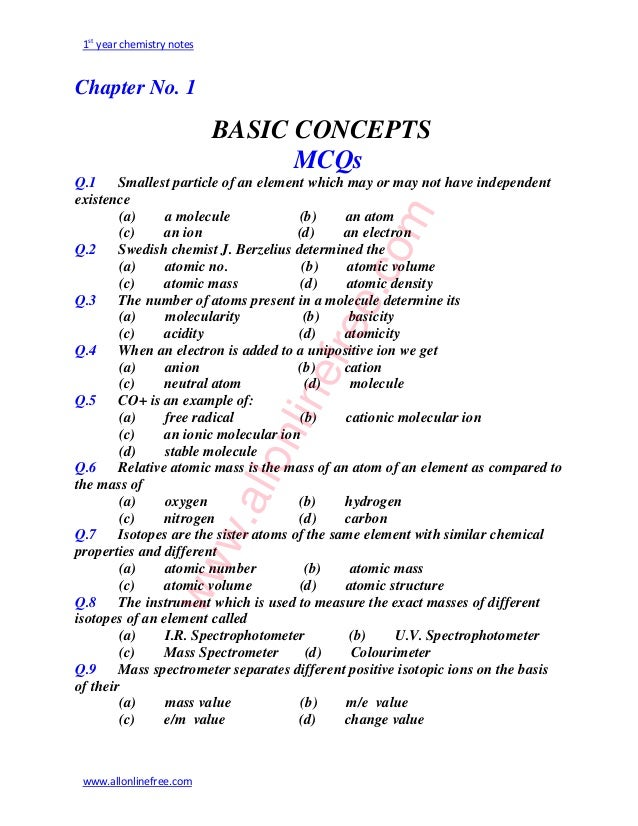 Mcqs of chemistry class 9th online dating