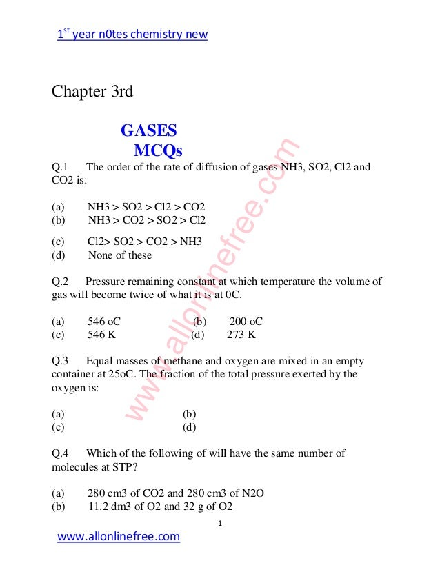 Chemistry Mcq Pdf