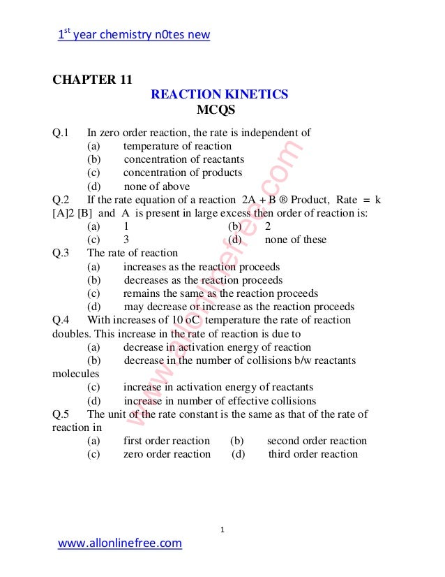 Chemistry Fsc Part 1 All chapter MCQs