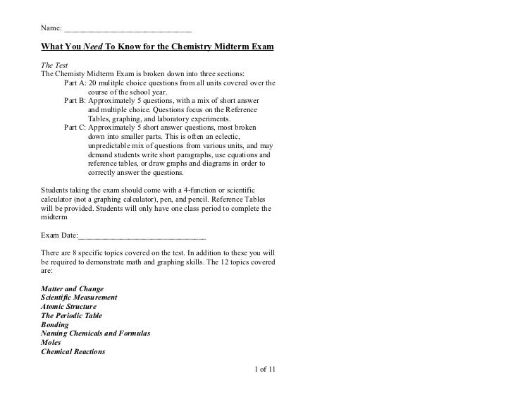 chemistry midterm study guide 2011 rh slideshare net usc chemistry placement test study guide ucf chemistry placement test study guide