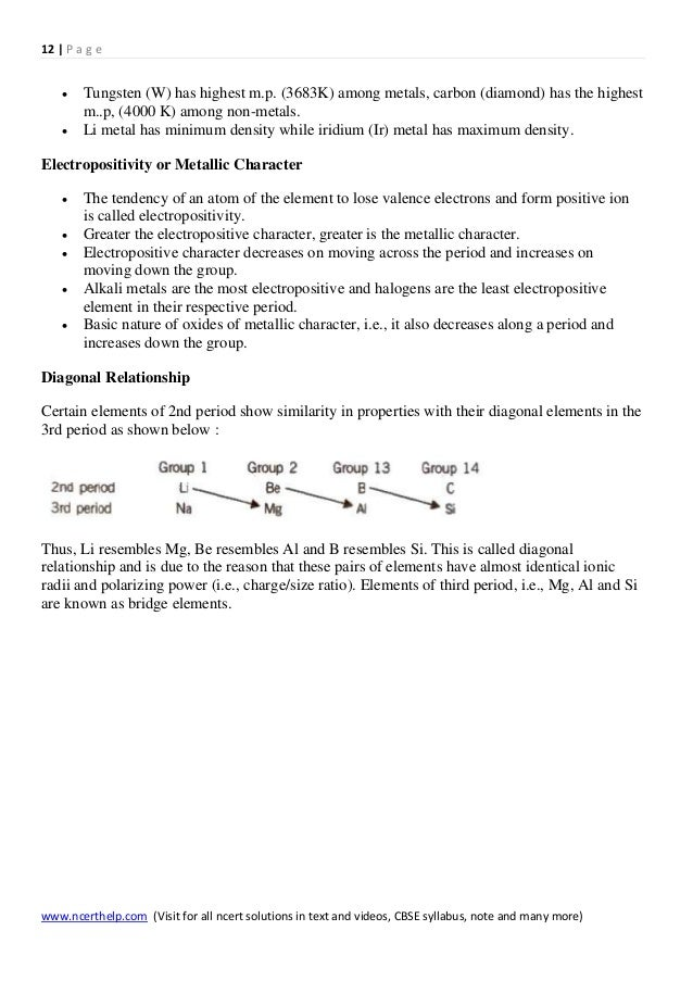 Chemistry notes class 11 chapter 3 classification of