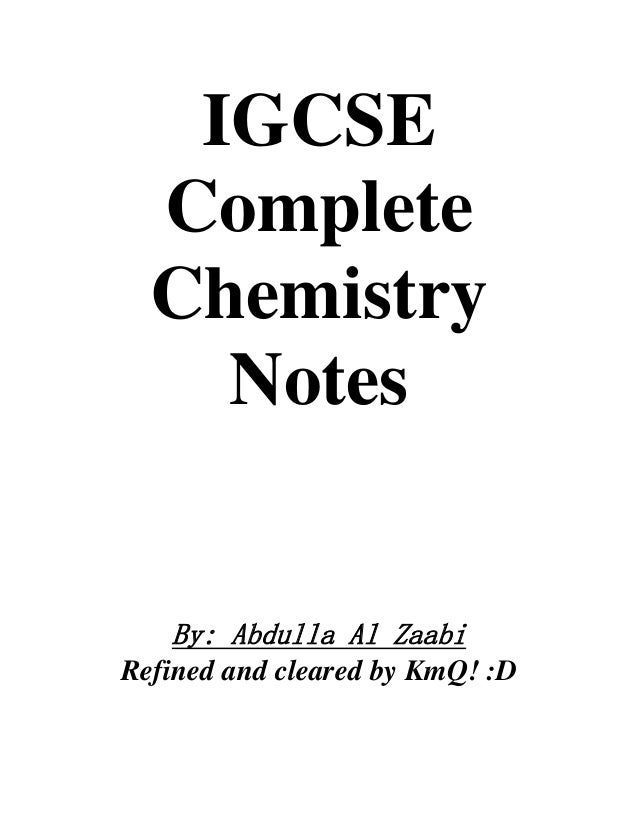 Chemistry Revision Notes Igcse