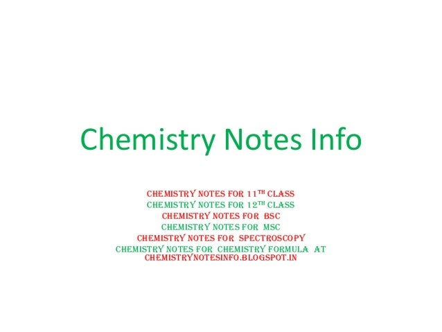 Chemistry Revision Notes for Class 11 - Short Key Notes