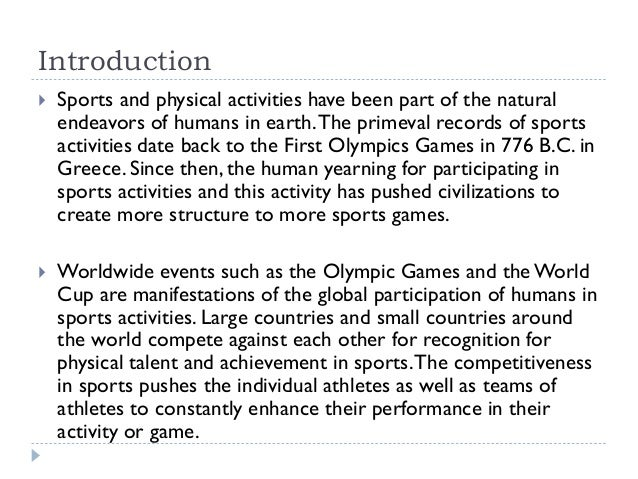 introduction of sports and games