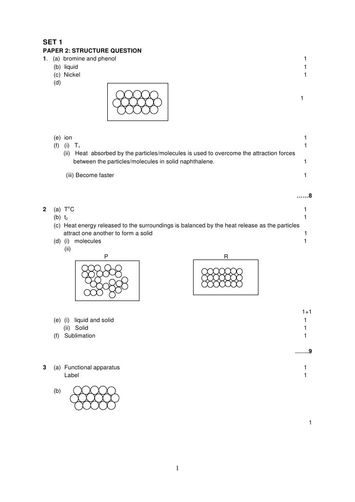 SET 1 PAPER 2: STRUCTURE QUESTION 1. (a) bromine and phenol                                                               ...