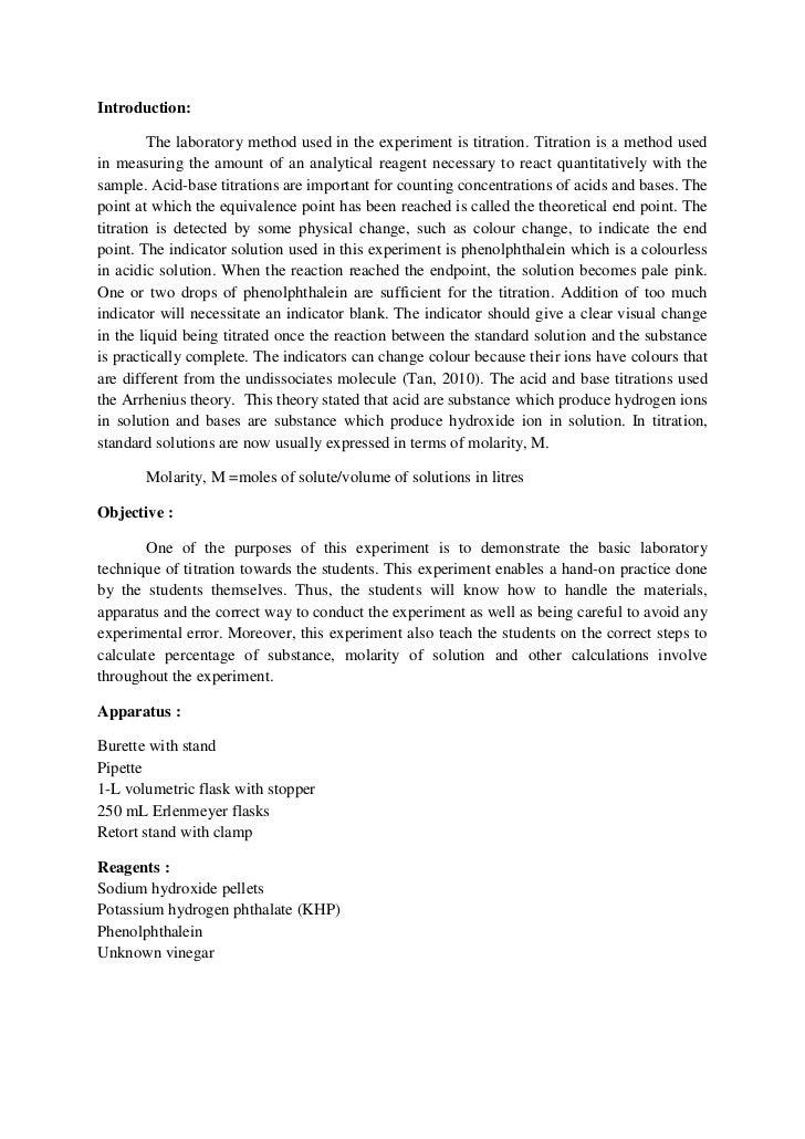 scientific report on titration method